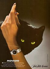 1980 Movado Watch Black Cat Saks 5th Ave Print Ad Vintage Advertisement VTG 80s