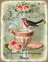 ~ Shabby Chic Vintage Bird & Teacup French Roses 1 Print on Fabric FB 755 ~