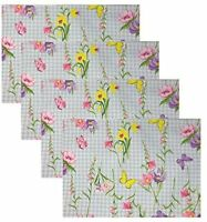 Easter Bunny Floral Butterfly Meadow Blue Gingham Fabric Placemats Set of 4