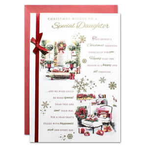 SPECIAL DAUGHTER CHRISTMAS CARD ~ LARGE SIZE QUALITY CARD & LOVELY VERSE