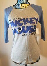 Disney Parks Women 3/4 Ragland Sleeve Mickey T-Shirt Blue-Gray NWT Extra SMALL