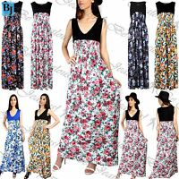 Womens Vest Ladies Contrast Floral Print Full Length Maxi Ruched Flared Dress