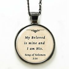 Necklace Glass Domed Beige Song of Soloman 2:16 Scripture Love JW.org