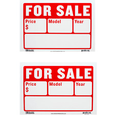 "2 PCS AUTO FOR SALE 9"" X 12"" PLASTIC SIGN WRITE IN BLOCKS FOR PRICE MODEL YEAR"
