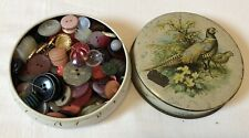 More details for small vintage sharwood's 'pheasant' tin full of vintage & modern buttons