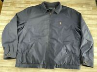POLO RALPH LAUREN MEN SIZE 2XL TALL BLUE FULL ZIP EMBROIDERED PONY JACKET EUC