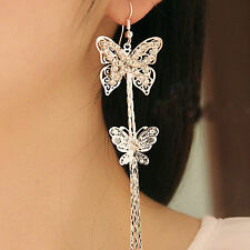 Long Tassels Double Layers Butterfly Rhinestone Hook Linear Earrings Women's New