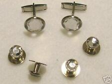 Cufflinks and Tuxedo Studs Silver Crystal New