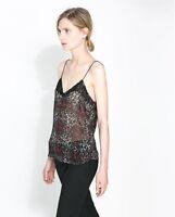ZARA Animal Print Lingerie Style Strappy Top Vest size S M