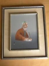 Vintage Japanese Silk Hand Embroidery Elder Male Making Basket Uchida Artco Fram