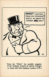 National Council of Labour Colleges, Hampstead. Plebs Cartoon. Control ME next!