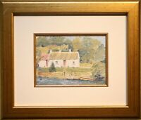 Irish Art Original Oil Painting Framed THATCHED HARBOUR COTTAGE by ANNE REID