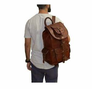 Handmade Vintage Leather BackPack Rucksack Travel Bag Laptop bag Men's Women's
