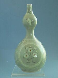 Korean Koryo Dynasty  Birds Pattern Vase 高麗瓷鶴紋葫蘆瓶