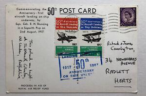 1967 Postcard 50th Anniversary of Aircraft landing on Ship Underway QEII 3d