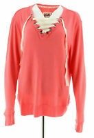 Peace Love World Comfy Knit Lace-Up V-Neck Top, Calypso Coral, XS