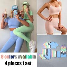 2020 Women Summer Yoga Set Crop Top Shorts Sport Bra Leggings Gym Fitness Suit
