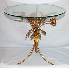 Italian Vintage Gold Gilt Metal Rose Base Glass Side End Table Hollywood Regency