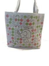 Lucky Day Lady Full Size Fashion Pattern Canvas Rag Tote Handbag, Gray