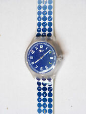 2004 TIME SCALES SWATCH TOUCH WATCH BLUE WHITE COLLECTABLE NEVER WORN STBK101