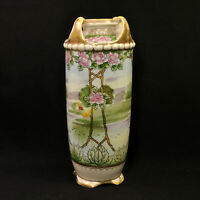"""Nippon M-in-Wreath 10 3/4"""" Vase Rose Arbor w/Lake House Gold Beads Hand Painted"""