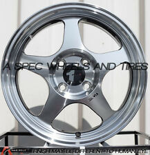 15X6.5 AVID.1 WHEELS AV-08 4X100 +35 MACHINED FACE RIM FITS TOYOTA COROLLA MR2