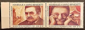 URUGUAY - MARIO BENEDETTI - LOT OF 2 MNH STAMPS