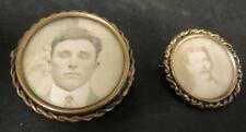 Two Victorian Memorial Mourning Photo Memory Brooches * Pins Young Men