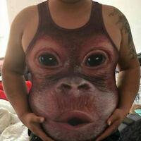 Summer Men Funny Monkey 3D Print Sleeveless Tank Vest T-Shirt Muscle Shirt S-3XL