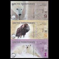 Arctic Territories UNCUT SET 3 PCS, 1 5 9 Dollars,Polymer, 2012, SPECIMEN,UNC
