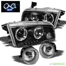 For 06-10 Dodge Charger LED Halo Blk Pro Headlights+Fog Lights+Bulbs+Switch