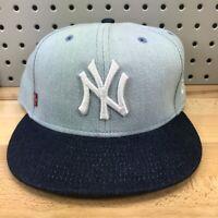 New York Yankees MLB Baseball New Era 59FIFTY LEVIS Cobranded Denim Hat EUC RARE
