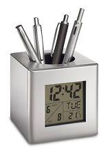 Stifteköcher Stiftebecher Stiftehalter Uhr Kunststoff silber REFLECTS