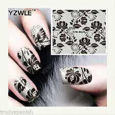 Nail Art Water Decals Transfers Black Lace Flowers Stamping Effect Gel Polish 26