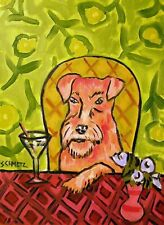 Martini art irish terrier dog Print 8x10 poster gift modern folk Jschmetz