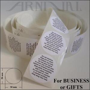 5cm WARNING LABELS FOR OILS & LIQUIDS 50mm INSTRUCTION STICKERS art craft supply