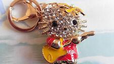 GUITAR PLAYING CAT (Red) rhinestone crystal Keyring/bag charm 149