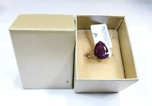 DOCW325 Red indian Ruby Rhodium Over Sterling Silver Solitaire Ring 12ct sz 9