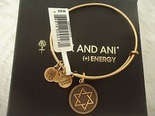 Alex and Ani STAR OF DAVID  Russian Gold Charm Bangle New W/ Tag Card & Box