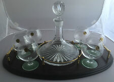 Ships Oval Tray With 24% Lead Crystal Decanter And Six Brandy Glasses