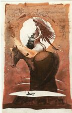 Gladiator, Nude, Knight, Horse,  Ex libris Bookplate  Etching by Peter Velikov