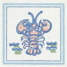 """Silver Needle Hadley Pottery Small Lobster handpainted Needlepoint Canvas 5""""x5"""""""