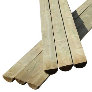 3 Pack of Fencing Rails 3.6m Half Round Fencing Beams Wooden Timber 100mm Dia