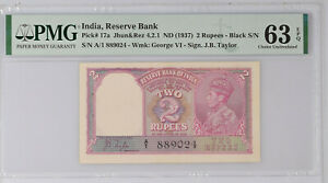 British India 2 Rupees (1937) P17a PMG Choice Unc 63 EPQ Taylor Sign, A/1 Prefix