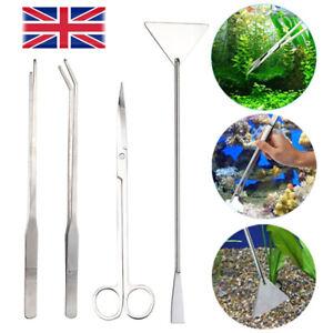 4Pcs Aquarium Tool Aquatic Plant Tweezers Tank Aquascaping Scissors Spatula Kit