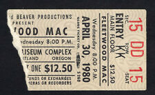 1980 Fleetwood Mac concert ticket stub Portland Oregon Tusk Tour