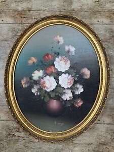 J COOPER Cream Rust Brown ROSES Flowers OIL PAINTING Original Mid Century
