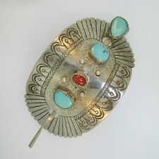 Silver Plated Southwest Turquoise and Coral Slide Hairpin Barrette