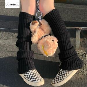 Long Socks Punk Solid Black Cool Knit Women Outdoor Knee High Elastic Leg Warmer