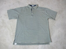 Peter Millar Golf Polo Shirt Size Adult Large White Blue Striped Cotton Rugby *